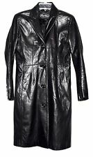 Vintage Luis Alvear Black Butter Leather Fitted Womens Coat Size P Made in Korea
