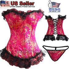 BLACK PUNK WOMEN BONED WAIST TRAINER CORSET OVERBUST LINGERIE BUSTIER TOP SHAPER