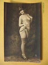 Orig 1910's-1920's Nude Risque J. Mandel postcard Shy Pretty Lady Stockings #146