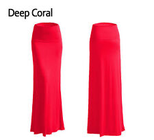 Women's A-line Full Length Rayon Span Maxi Skirt (Size:S-3X PLUS) Made in USA