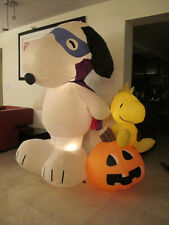 PEANUTS SNOOPY HALLOWEEN INFLATABLE SNOOPY WITH WOODSTOCK ON TOP OF PUMPKIN