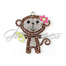 1PC 50x42mm Boot Monkey Dora the Explorer Rhinestone Pendant Kid Chunky Necklace