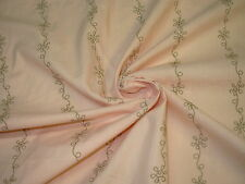 ~11YDS~RAW 100% SILK~VINES BLUSH EMBROIDERED DRAPERY UPHOLSTERY FABRIC FOR LESS~
