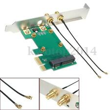 Wireless Network Wlan Wifi Card PCI-E to PCI-E1X Adapter Convertor &2 Antenna