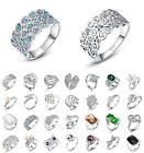 Women Fashion Jewelry 925 sterling silver 18K White Gold Filled rings wedding