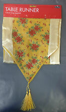 Quality Christmas Table Runner XMAS Red Gold Silver Table Decorations 136cm(App)