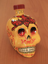 KAH Reposado Tequila Hand Painted Ceramic Empty Skull Bottle with Stopper 750 mL