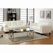 Furniture of America Harrelson 2 Piece Leatherette Sofa Set in White