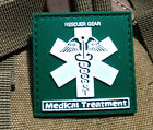 GREEN RESCUER GEAR MEDICAL TREATMENT 3D TACTICAL ARMY PVC RUBBER VELCRO PATCH