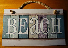 BEACH Rustic Nautical Tropical Weathered Wood Fence Plank Sign Home Decor NEW