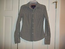 AMERICAN EAGLE JUNIOR'S SIZE 2 BUTTON UP SHIRT LONG SLEEVES BROWN/WHITE CHECK