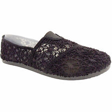 NEW WOMENS LADIES LACE LACEY CROCHET SHOES PUMPS SLIP ON TOM'Z SUMMER RETRO SIZE