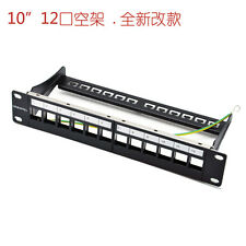 Network 12 Port Unload Patch Panel - 10 Inch RackMount Incl.Cable Management Bar