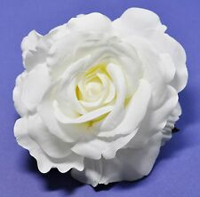 "5"" Creamy White Rose Silk Flower Hair Clip Wedding Bridesmaid Pinup"