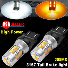2X High Power 5730 Chip 3157 Dual Color 20-LED Switchback Tail Brake Light Bulbs