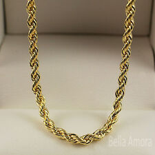 "Unisex Mens Ladies 9ct Yellow Gold Pltd Twist Rope 25"" Necklace Chain Gift 217"