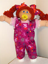 "Clothes for Cabbage Patch Kids PEPPA PIG RUFFLED BIB OVERALLS FOR 16-18"" DOLLS"