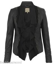 NWT MUUBAA HADEI LEATHER AND SUEDE DRAPE BIKER JACKET BLACK 6 S UK 10