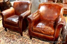 Set of 2 Club arm chair vintage Italian brown cigar distressed leather unique
