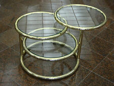 CHIC 70's MILO BAUGHMAN ATTRIB. CIRCULAR SWIVEL COCKTAIL SIDE TABLE