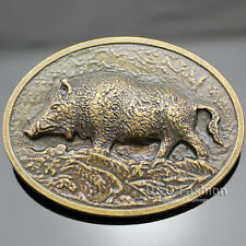 Western Antique Gold Wild Boar Pig Hog Animal Hunt Tractor Farm Belt Buckle