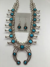Sterling Silver Navajo Handmade Round Oval Turquoise Squash Blossom Necklace Set