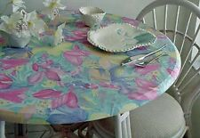 """Elastic Edge Round Fitted Vinyl Tablecloth  36""""-48"""" Tropical Flowers Maui Spring"""