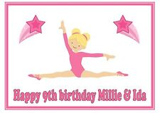 Gymnastic blonde hair splits birthday personalised A4 cake topper icing sheet