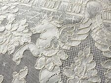 "PEGASUS Venice Scenes XL 82"" ROUND Antique French ALENCON Net LACE TABLECLOTH"