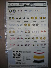 1/72  VINTAGE KRASEL DECAL N°22 US ARMY ECUSSONS  CHASSEURS ET BOMBARDIERS