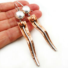 Long 925 Sterling Silver Ball Bead and Copper Designer Earrings
