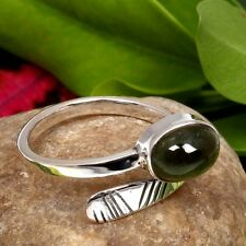 Natural Green TOURMALINE Cabochon Gemstone 925 Sterling Silver Ring Size US 8.5