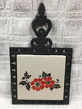 HALL RED POPPY WROUGHT IRON & POTTERY TRIVET ~ NEW TO THE PATTERN