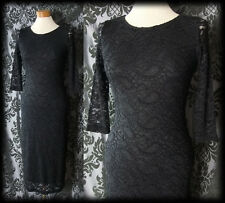 Gothic Long Black Lace INFATUATION Fitted Wiggle Dress 4 6 Victorian Glamour