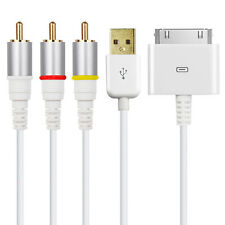 RCA Video AV Audio Video TV Composite Cable USB for Apple iPad 2 iPhone 4 iPod