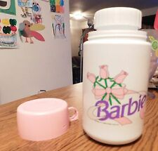 1990's Vintage Barbie Pink & White W/ Roses Thermos Lunch