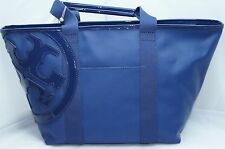 Tory Burch Small Beach Canvas Tote Blue Bag Handbag Shoulder NWT