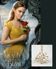 Disney BEAUTY And The BEAST Belle Gold ROSE Tree Pendant Necklace Cosplay Props