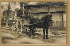 Cpa Carte Photo attelage charette cheval paysan bt032