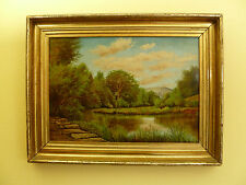 H.R. PILLSBURY MEADOW LANDSCAPE OIL PAINTING IN GILT PERIOD FRAME – DATED 1882