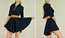 Black FLARED SKIRT Fit  Flare Long Sleeve Peplum Button Up Sexy Shirt Dress S