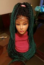 "Gorgeous Fully hand braided 12x4""  lace Frontal  box braid wig color Green & 1"