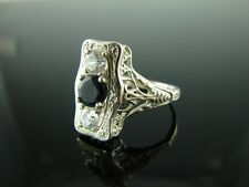 Sterling Silver Antique Style Filigree Ring Onyx and White CZ Gemstone (1) 6mm (