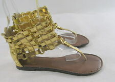 Summer NEW gold  WOMEN SHOES ROMAN GLADIATOR FLAT SANDALS     SIZE 6