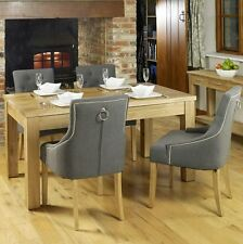 Conran solid oak furniture dining table and four luxury grey chairs set