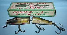 "VINTAGE C.C.B. CO. CREEK CHUB 9"" BATTLE-SCARRED MUSKIE LURE IN TIME WORN BOX"