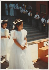 Vintage 80s PHOTO Young Girls Children Boys At First Communion