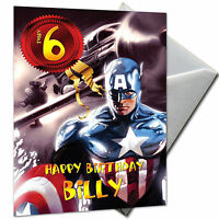 THE AVENGERS - CAPTAIN AMERICA - PERSONALISED  Birthday Card Large A5 + Envelope