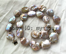 """Purple Brown Keshi Keishi Freshwater Pearl Necklace Blister Clasp 18"""""""