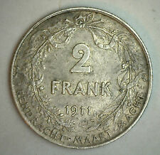 1911 Silver Belgium 2 Francs Coin Currency XF